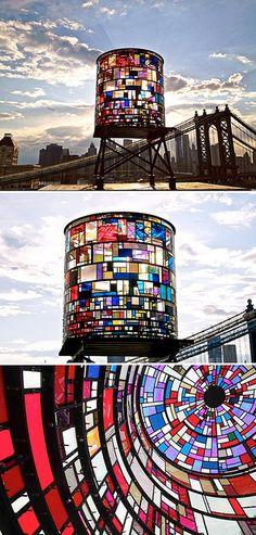 Watertower by Tom Fruin.               Dumbo Brooklyn.                             Composed of 1.000 scraps of plexiglas and reclaimed steel