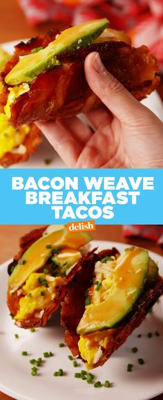 Bacon Weave Breakfast Tacos are low-carb, high impact. Ketogenic Recipes, Low Carb Recipes, Cooking Recipes, Ketogenic Diet, Keto Foods, Health Recipes, Fish Recipes, Cake Recipes, Breakfast Tacos