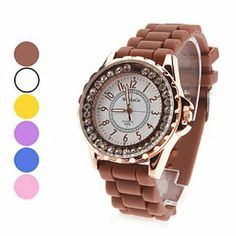 Tanboo Women's Silicone Analog Quartz Wrist Watch (Assorted Colors) by Tanboo. $9.99. Wrist Watches. Women's Watche. Fashionable Watches. Gender:Women'sMovement:QuartzDisplay:AnalogStyle:Wrist WatchesType:Fashionable WatchesBand Material:SiliconeBand Color:Yellow, Brown, Purple, Blue, Pink, WhiteCase Diameter Approx (cm):4Case Thickness Approx (cm):1.2Band Length Approx (cm):19Band Width Approx (cm):1.8