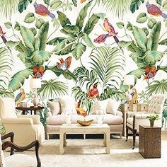 Royal Garden Mural Wallpaper (m²) Mural roll of 1 sq m wallpaper for stimulating wall decor This bea Unique Wallpaper, Custom Wallpaper, Photo Wallpaper, Wall Wallpaper, Nature Wallpaper, Forest Wallpaper, Tropical Wallpaper, Royal Wallpaper, Cheap Wallpaper