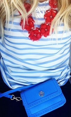 striped top & j crew rose necklace