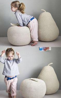 Puff de frutas para a criançada se divertir! #croche