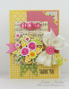 Jeanne Jachna: A Kept Life – WPlus9 MMB#14 - Floral Thank You - 6/14/13.  (Stamps:  WPlus9 Fresh Cut Florals Pattern Paper:  Dies: Spellbinders Deckled Rectangles; Wplus9 Timeless Tags, fresh Cut Florals; Cheery Lynn Sophie's Heart Mini). (Pin#1: Flowers: 3D/ Dies... Pin+: Music...).