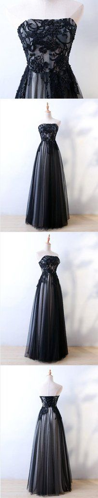 Unique strapless black tulle long lace appliques prom dress, party dress #prom #dress #promdress #promdresses