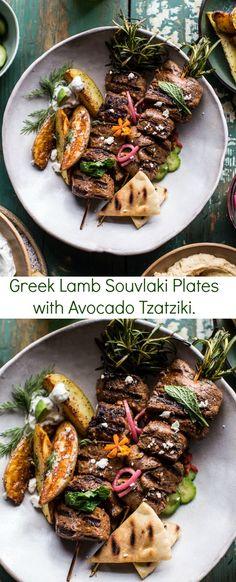 Greek Lamb Souvlaki Plates with Avocado Tzatziki   halfbakedharvest.com @hbharvest