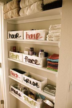 10 Amazing DIY Organization Systems The toilet paper rolls is a neat idea. Labels are a must.