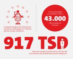 Europaweit steigt laut EU-Kommission die Zahl der Arbeitsplätze im IT-Bereich jährlich um über 100.000 an.  In Deutschland gab es im Oktober 2012 ca. 43.000 offene Stellen im IT-Bereich.  Ende des Jahres 2013 werden bei den Unternehmen der BITKOM-Branche 917.000 Menschen beschäftigt sein.