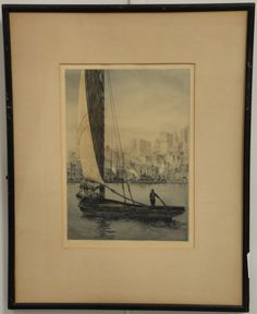 """John Taylor Arms (1887-1953) """"The Sarah Jane New York""""  color etching and aquatint  signed in margin John Taylor Arms 1920  10 1/4"""" x 7 1/4"""" sight size  Provenance:  The Estate of Natalie [...more]  Estimate: $400 - $800"""