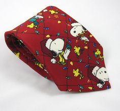 Snoopy & Woodstock Holiday Neck Tie Christmas Lights Peanuts Red 100% Silk USA #Peanuts #NeckTie