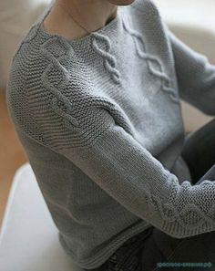 Вязание спицами для женщин Описание вязания женской кофты регланом сверху Картинки увеличиваются при нажатии....