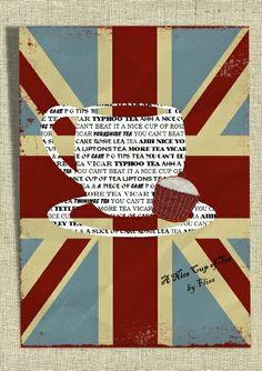 Union Jack Art Print Poster Theme Cup of Tea Unique Design Modern Wall Decor £12.99