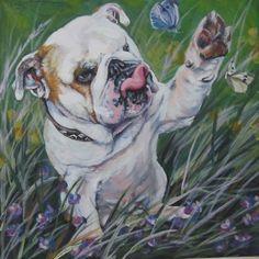 English Bulldog CANVAS PRINT painting dog LSHEP art