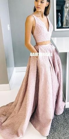 A-line Lace V-neck Sleeveless Two Pieces Prom Dress with Pockets - Lombn Sites Western Wedding Dresses, Princess Wedding Dresses, Bridal Dresses, Prom Dresses With Pockets, Wedding Dress With Pockets, Two Piece Wedding Dress, Classic Wedding Dress, Inexpensive Prom Dresses, Dress Backs