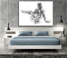 ♥ Contemporary Elegant Sensual Sexy Drawing Canvas Print ♥ Make your bedroom more intimate with this sensual drawing ♥ High quality canvas! Gallery Style thick canvas stretched onto wooden frame. thick canvas available by request. Master Bedroom Bathroom, Bathroom Wall Art, Bedroom Sets, Bedroom Wall, Bedroom Bed Design, Home Room Design, Bedroom Furniture Design, Beautiful Bedrooms, Small Modern Bedroom