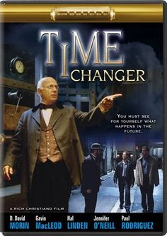 "Time Changer - Christian Movie/Film on DVD. A time-travel adventure for the whole family! The year is 1890, Bible Professor Russell Carlisle (D.David Morin) has written a new manuscript, ""The Changing Times"". His book is about to receive a unanimous endorsement from the board members of the Grace Bible Seminary... until...  http://www.christianfilmdatabase.com/review/time-changer/"
