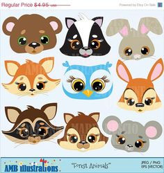 60 OFF Forest Animals clip art commercial use by AMBillustrations, $1.98