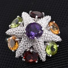 GP Amethyst and Multi-Gemstone Platinum Over Sterling Silver Ring