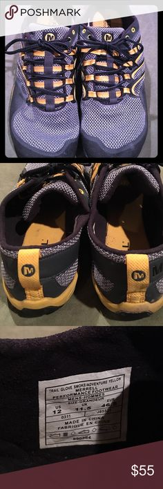 Merrell men's Trail Glove size 12 silver/gr yellow EUC Merrell Performance footwear size 12 Trail Glove smoke/ performance yellow in color, worn a handful of times,Sporty look, comfortable Merrell Shoes Sneakers