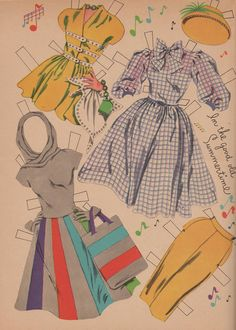 clothes for Doris Day paper cut out doll...i'd wear that grey, hooded dress myself!