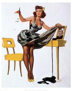 Pin-Up-Girl mit Tintenflecken Kunstdruck