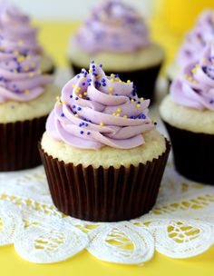 Blueberry Lemon Curd Cupcakes--I will use my own lemon curd recipe for these! LOVE lemon curd!!