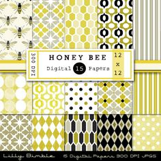 Honey Bee Digital Paper Pack for stationary, cards, photography, graphic design. $5.00, via Etsy.