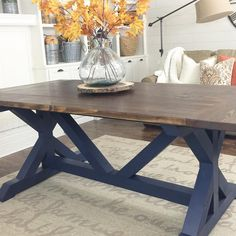 One Of Our More Popular Tables Off Of Etsy This Post Trestle Is A - Ranch style table
