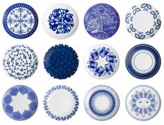 blue and white plate series illustrated by designer Johanna Kunelius