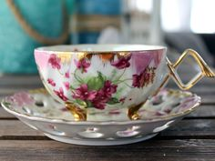 Opalescent Teacup. Pearlized Tea Cup and Saucer, Lefton Bone China, Reticulated Saucer 13954