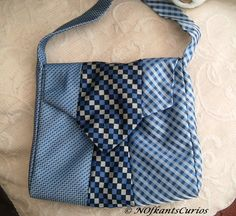 Tied to Blue Checks! Unique Handbag made from Gent's Neck Ties.  £16.00 by NOfkantsCurios