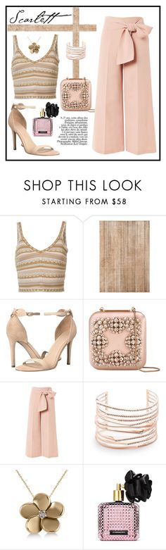 """THE SCARLETT LOOK"" by taliafzl ❤ liked on Polyvore featuring Alice + Olivia, GUESS, Manolo Blahnik, Topshop, Alexis Bittar, Allurez, Victoria's Secret, Pink, brown and summeroutfit"