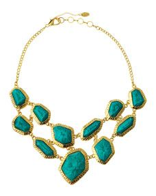 online retailer bdf78 d1b1e Amrita Singh Two-Row Bib Necklace, Turquoise
