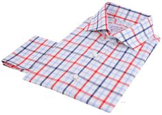 Luxire dress shirt constructed in Red Navy BigTattersall: http://custom.luxire.com/products/red-navy-big-tattersall  Consists of English collar and french cuffs.