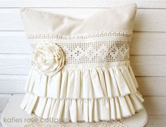 Canvas Tattered Ruffle Pillow  super cute blog of vintage!