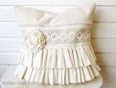 Canvas Tattered Ruffle Pillow