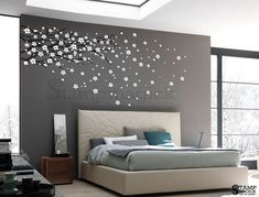 Cherry Blossom Wall Decal / Sticker. Wall art decal features a beautiful blowing cherry blossom branch. Great for children's rooms, playroom,