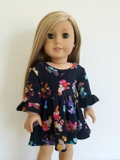 Black Floral Swing Dress for American Girl Dolls by BuzzinBea