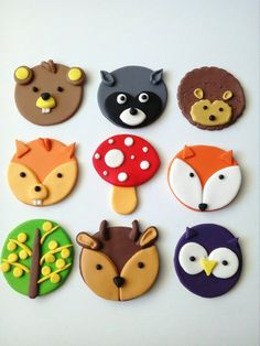 Dry Food Storage Containers How To Make 59 Ideas Fondant Cupcakes, Fondant Toppers, Cupcake Cakes, Woodland Cake, Animal Cupcakes, Fondant Animals, Cake Decorating Tools, Food Storage Containers, Woodland Animals
