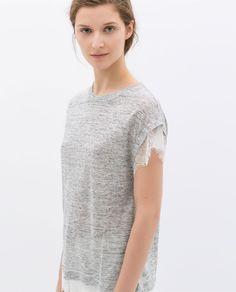 Image 2 of LACE LINEN T-SHIRT from Zara