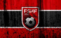 Download wallpapers Albania national football team, 4k, logo, grunge, Europe, football, stone texture, soccer, Albania, European national teams