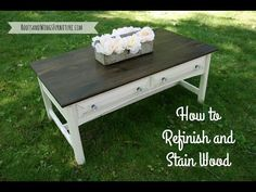 How to sand and refinish wood like a pro to transform this coffee table! Find out my favorite wood stain colors and how to get a gorgeous finish everytime!