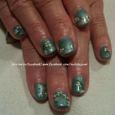 Shellac with flower nail art. Follow me on my nail page at www.facebook.com/nailsbyjami.  #cndshellac #nailprodigy #nailart #naildesigns #cutenails #nailartjunkie #nailpro #flowernailart #peoriail #peoriailnailtech #uniquenails #glitternails #funnails #nailspecial #followme #springnailart #summernailart #babybluenails