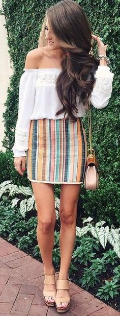 #summer #preppy #outfits |  White Bardot Blouse + + Stripe Skirt