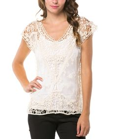 Look at this Magic Fit Natural Lace Scoop Neck Top on #zulily today!