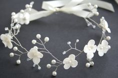 Corona de flores de la boda, nupcial de la flor corona, corona de novia, corona nupcial, corona blanca, tocado de novia, tiara de la boda, flor de corona,