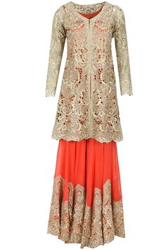 Gold cutwork jacket with coral tunic and sharara Ivory zari cutwork embellished anarkali set