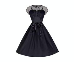 tina // film noir dress --  Stunning 50's-inspired black cotton swing dress with a dramatic mesh and corset bodice. Featuring a flattering fit-and-flare silhouette, adjustable straps & removable satin sash.