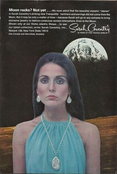 Items similar to Moon Rocks Sarah Coventry Original 1969 Vintage Print Ad Color Photo Tranquility Necklace and Earrings Jewelry on Etsy – Sonja Rünzi - Space Jewelry Ads, Jewelry Branding, Fashion Jewelry, Jewlery, Jewellery Rings, Jewelry Watches, Vintage Advertisements, Vintage Ads, Vintage Prints