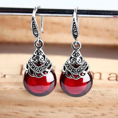 Bohemian 925 Sterling silver retro round red Natural semi-precious stones Garnet Earrings female women jewelry girlfriend gift