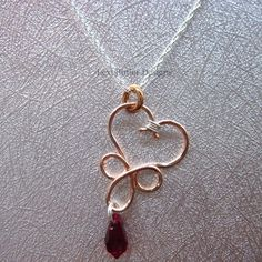 Wire Wrapped Pointed Teardrop Crystal Heart - Cross Necklace